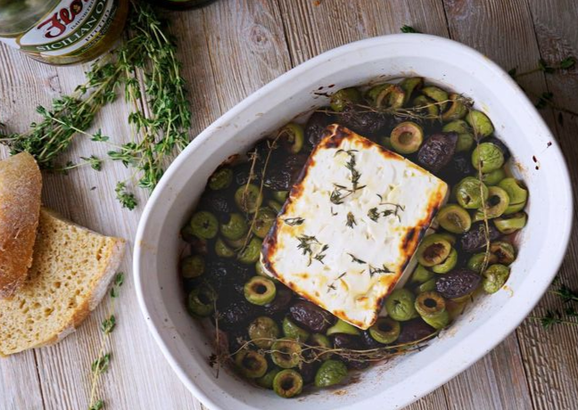 Baked Feta with Olives, Thyme and Honey