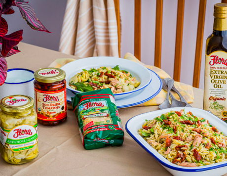 Mediterranean Orzo Salad with Tuna, Artichoke & Sun-dried Tomatoes